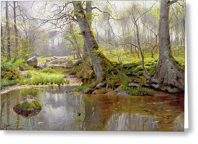 Danish Greeting Cards - Woodland Pond Greeting Card by Peder Monsted