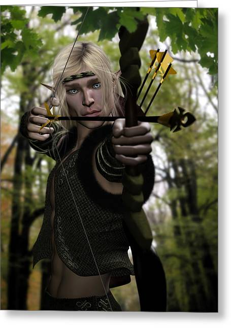 Elven Archer Greeting Cards - Woodland Realm Greeting Card by Suzanne Amberson