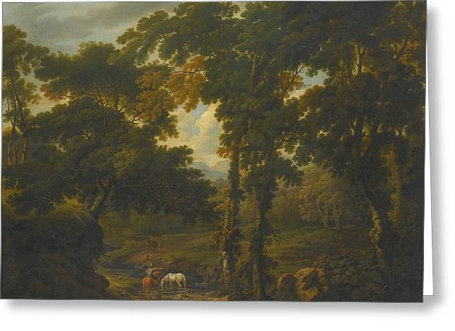 Woodland Scene With A Horseman Greeting Card by Celestial Images
