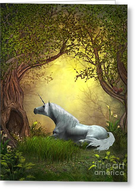 Fabled Greeting Cards - Woodland Unicorn Greeting Card by Corey Ford