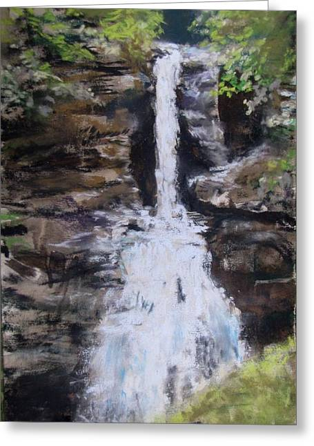 Waterfall Pastels Greeting Cards - Woodland Waterfall Greeting Card by Jack Skinner