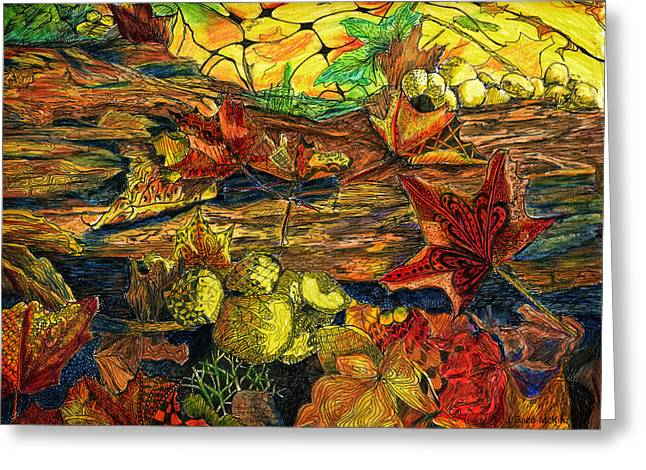 Forest Floor Drawings Greeting Cards - Woodland Weaving Greeting Card by Jo-Anne Gazo-McKim