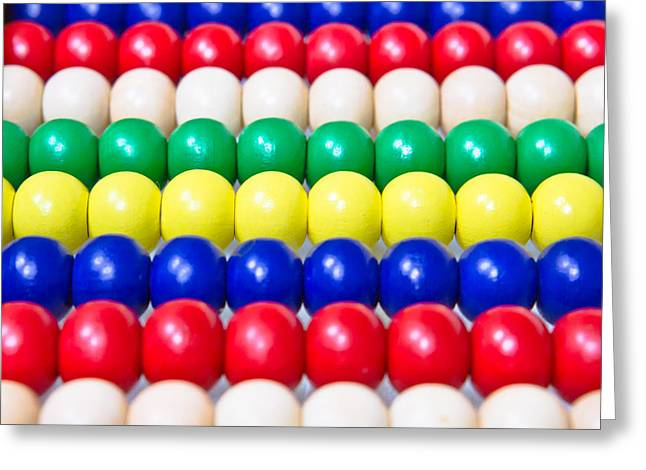 Colorful Beads Greeting Cards - Wooden balls Greeting Card by Tom Gowanlock