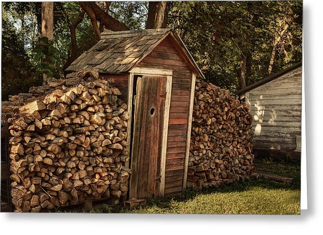 Woodpile Greeting Cards - Woodpile and Shed Greeting Card by Nikolyn McDonald
