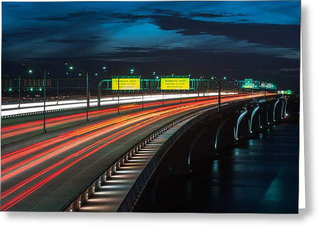 Woodrow Wilson Bridge Rush Hour Traffic Greeting Card by Mark VanDyke