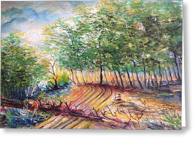 Landscape With A Road Greeting Cards - Woods Greeting Card by Egidio Graziani