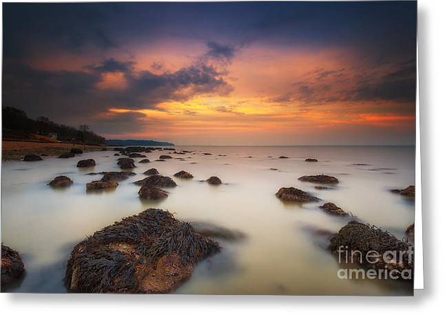 Woodside Beach Sunset Greeting Card by English Landscapes