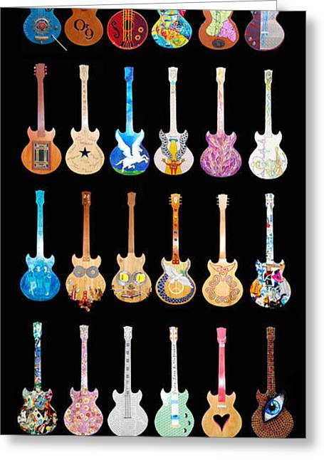Hippie Sculpture Greeting Cards - Woodstock Guitar Auction Greeting Card by Guy Harnett
