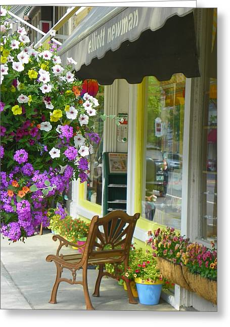 Store Fronts Greeting Cards - Woodstock in Finery Greeting Card by Georgia Hamlin