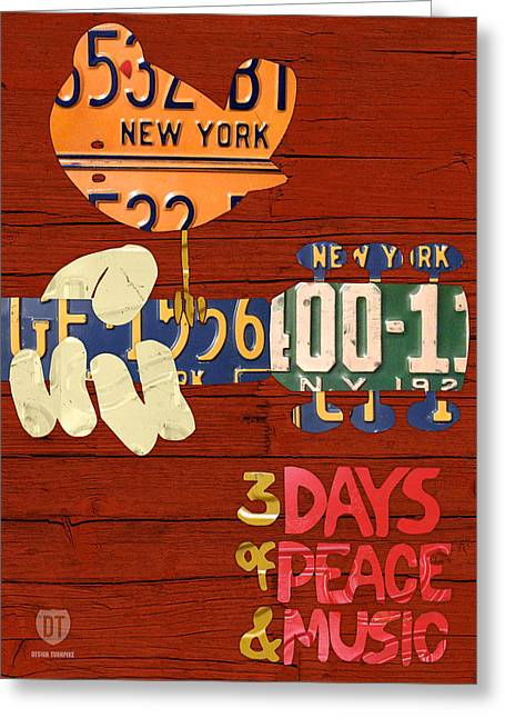 1970s Music Greeting Cards - Woodstock Music Festival Poster License Plate Art Greeting Card by Design Turnpike