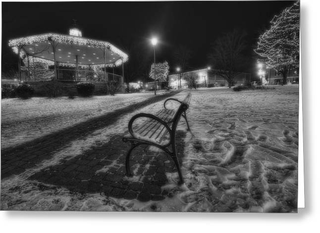 Woodstock Square Xmas Eve Nite Greeting Card by Sven Brogren