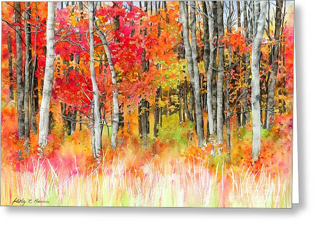 Red Art Greeting Cards - Woodsy Forest Greeting Card by Hailey E Herrera