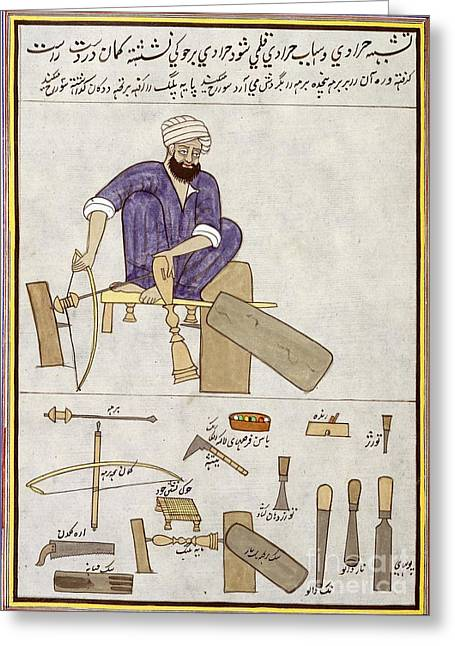 Persian Illustration Greeting Cards - Woodturning Craftsman In India, 1850s Greeting Card by British Library