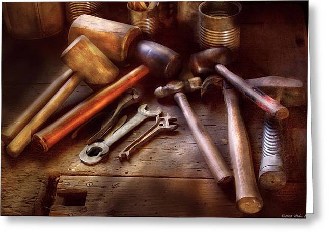 Rawhide Greeting Cards - Woodworker - A Collection of Hammers  Greeting Card by Mike Savad