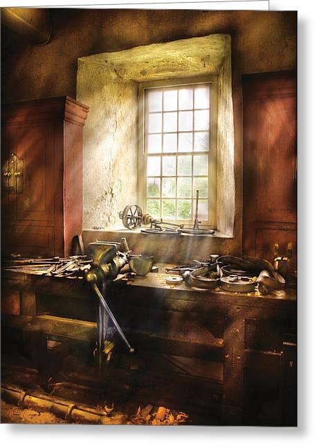 Savad Photographs Greeting Cards - Woodworker - Many old tools Greeting Card by Mike Savad