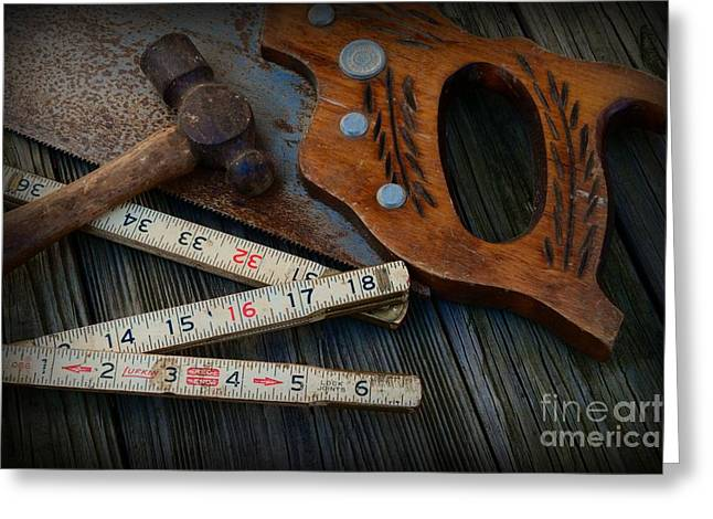 Contractors Greeting Cards - Woodworker - Measure twice Cut Once Greeting Card by Paul Ward