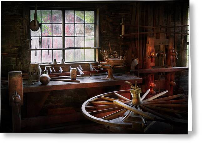 Carpenter Greeting Cards - Woodworker - The wheelwright shop  Greeting Card by Mike Savad