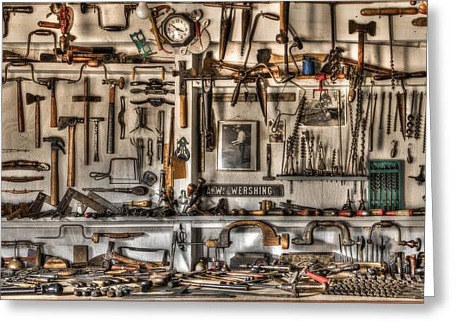 Main Street Greeting Cards - Woodworking Tools Greeting Card by Debra and Dave Vanderlaan
