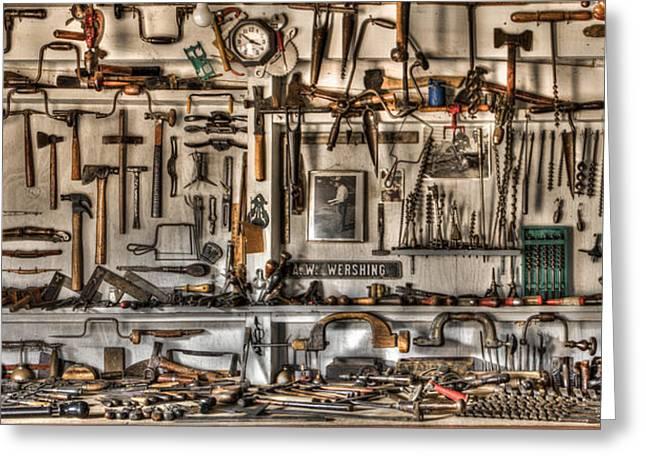 Woodworking Tools Greeting Card by Debra and Dave Vanderlaan