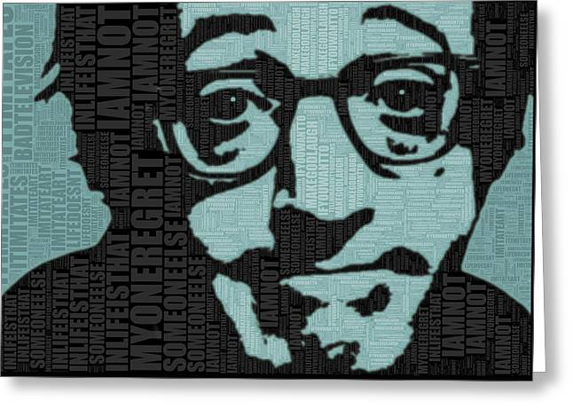 Comedian Mixed Media Greeting Cards - Woody Allen and Quotes Greeting Card by Tony Rubino