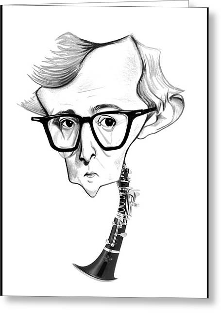 Woody Allen Greeting Cards - Woody Allen Illustration Greeting Card by Diego Abelenda