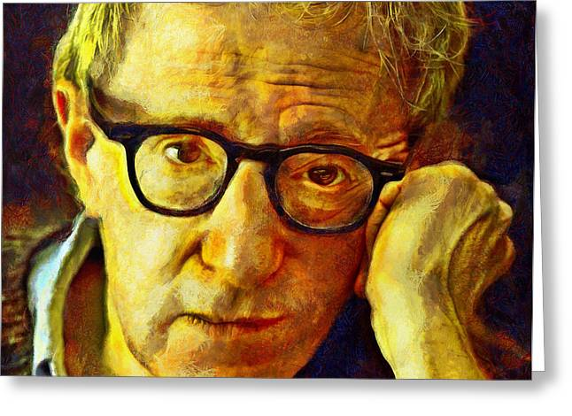 Lucent Dreaming Greeting Cards - Woody Allen Greeting Card by Nikola Durdevic