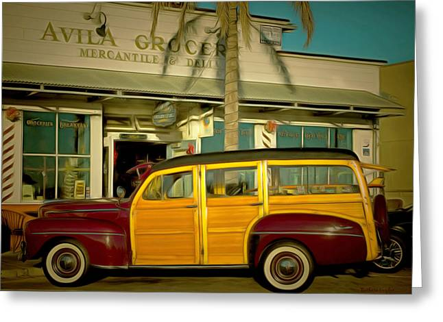 Station Wagon Greeting Cards - Woody At Avila Grocery Greeting Card by Barbara Snyder
