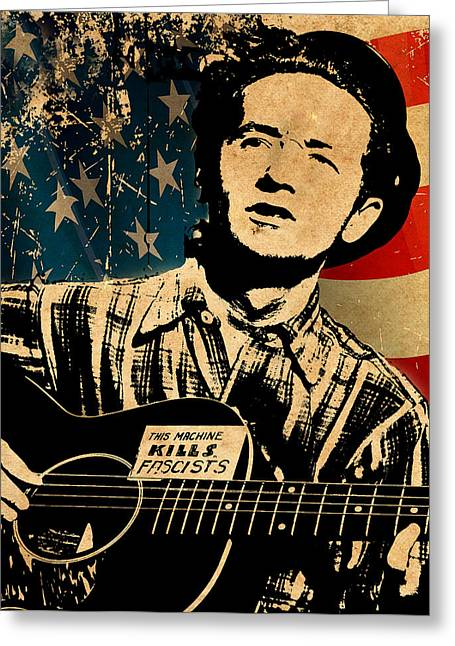 Protest Greeting Cards - Woody Guthrie 1 Greeting Card by Andrew Fare