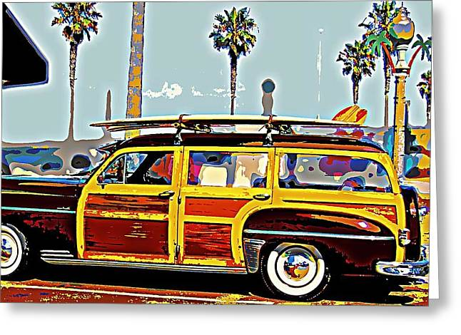 Station Wagon Greeting Cards - Woody with Boards Greeting Card by Tg Devore