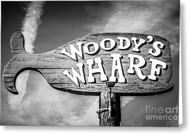 Balboa Peninsula Greeting Cards - Woodys Wharf Sign Picture in Newport Beach Greeting Card by Paul Velgos
