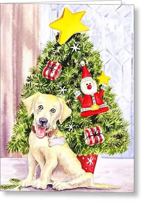 Woof Merry Christmas Greeting Card by Irina Sztukowski