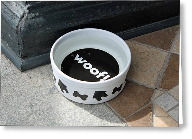 Wooden Bowl Greeting Cards - Woof Greeting Card by Suzanne Gaff