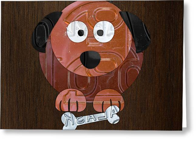Road Trip Greeting Cards - Woof the Dog License Plate Art Greeting Card by Design Turnpike