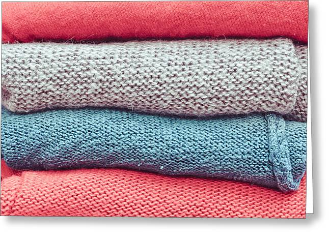 Apparel Greeting Cards - Wool jumpers Greeting Card by Tom Gowanlock