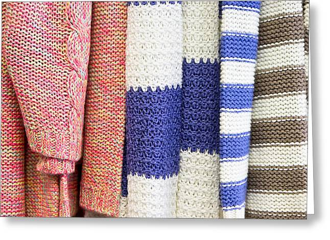 Knitwear Greeting Cards - Wool tops Greeting Card by Tom Gowanlock
