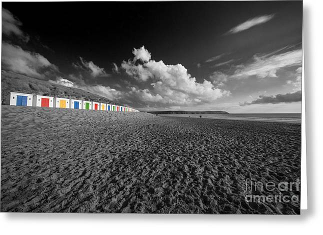 Selective Colouring Photographs Greeting Cards - Woolacombe Hutz Greeting Card by Rob Hawkins