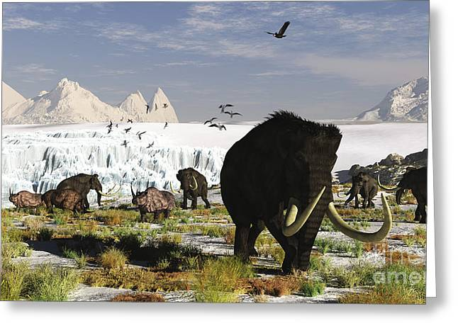 Grazing Snow Greeting Cards - Woolly Mammoths And Woolly Rhinos Greeting Card by Arthur Dorety
