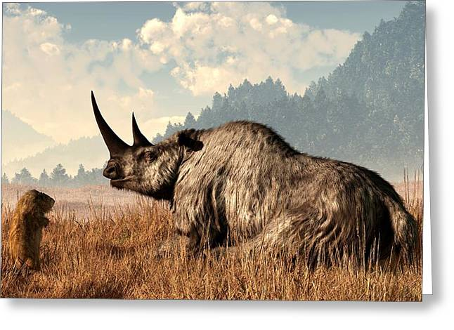 Fabled Greeting Cards - Woolly Rhino and a Marmot Greeting Card by Daniel Eskridge
