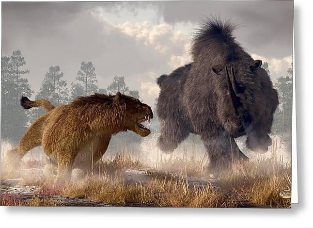 Rhinoceros Digital Greeting Cards - Woolly Rhino and Cave Lion Greeting Card by Daniel Eskridge