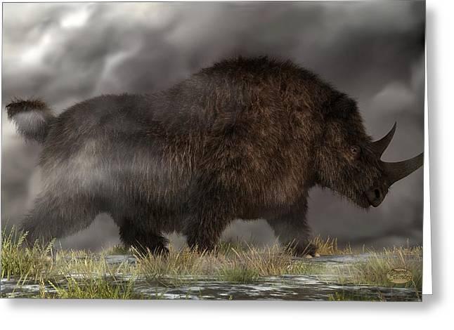 Woolly Rhinoceros Greeting Card by Daniel Eskridge