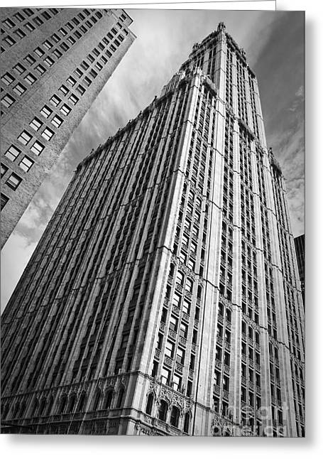 Woolworth Building Greeting Card by Delphimages Photo Creations