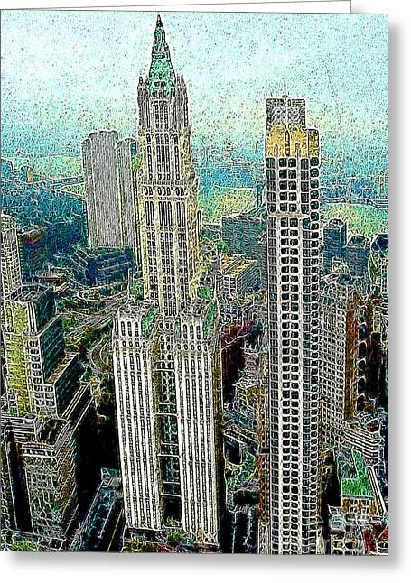 Highrise Digital Greeting Cards - Woolworth Building New York City 20130427 Greeting Card by Wingsdomain Art and Photography