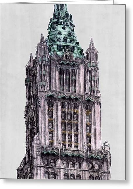 Woolworth Building New York City Greeting Card by Gerald Blaikie