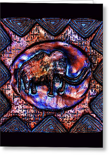 Ceramic Ceramics Greeting Cards - Wooly Mammoth Cave Art Greeting Card by Susanne Still