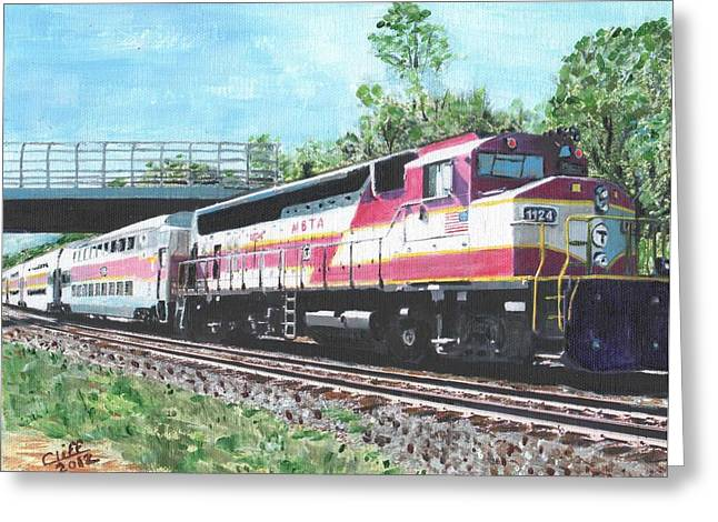 Boston Ma Greeting Cards - Worcester Bound T Train Greeting Card by Cliff Wilson