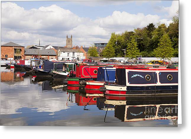 Worcester Greeting Cards - Worcester Diglis Basin Narrow Boats Greeting Card by Colin and Linda McKie
