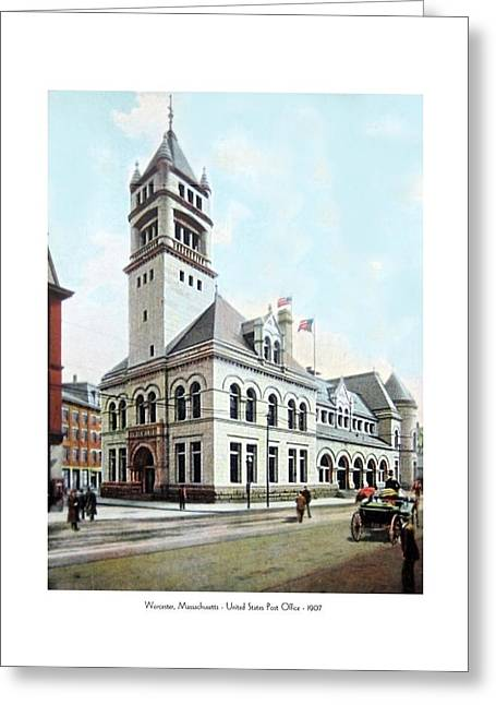 1907 Digital Greeting Cards - Worcester Massachusetts - United States Post Office - 1907 Greeting Card by John Madison