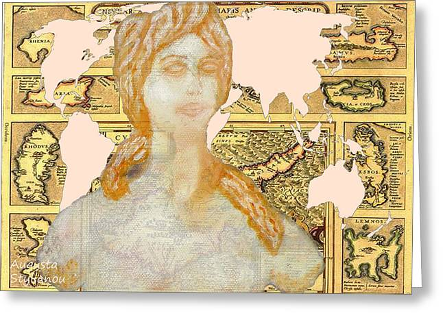 Word Map Cyprus And Aphrodite Greeting Card by Augusta Stylianou