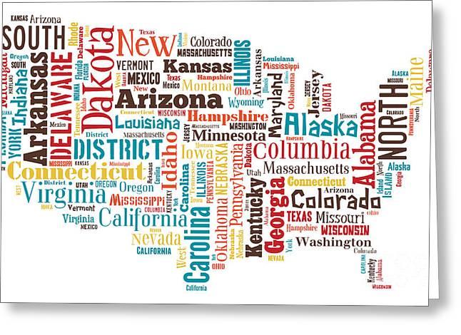 Wordcloud Of America Greeting Card by Antony McAulay