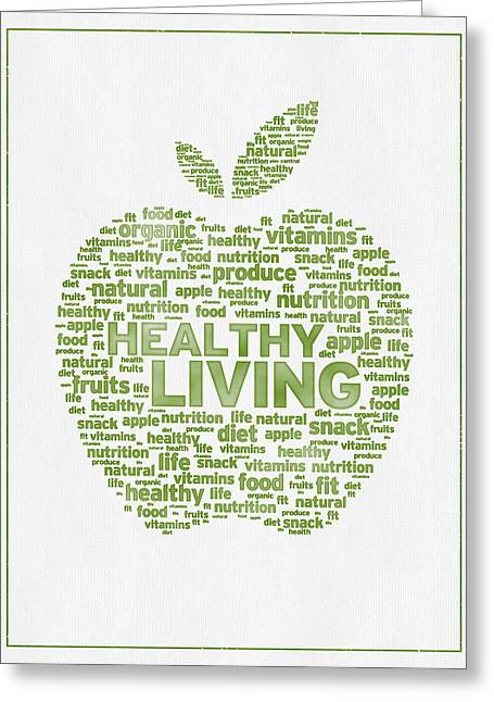 Vitamin Greeting Cards - Words Healthy Living - Green Ink Greeting Card by Aged Pixel